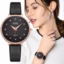 Clock Ladies Quartz Wristwatches Leather Band Elegant Fashion Rhinestones Love Mark Black Dial Casual Bracelet Watch Woman Gift