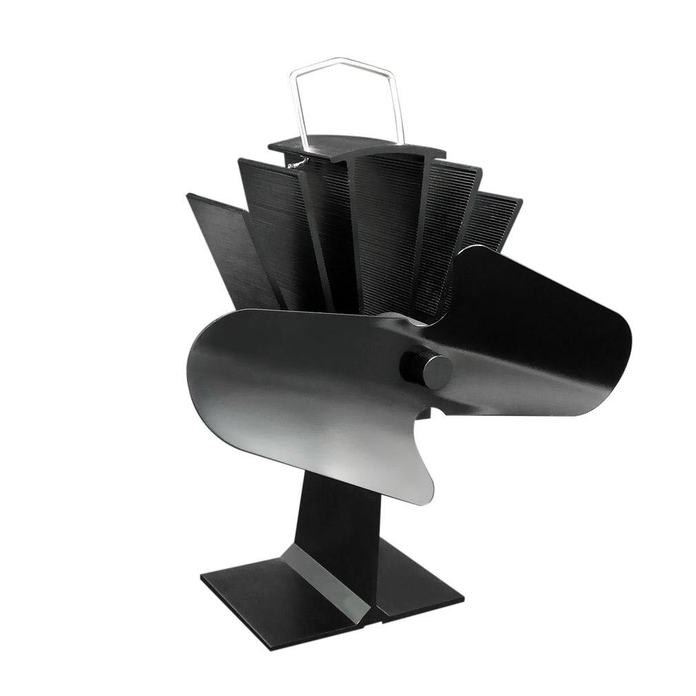 Durable 2 Blades Aluminum Black Heat Powered Stove Fan Fuel Saving Stove Fan Eco-friendly Wood Burner Stove Fan