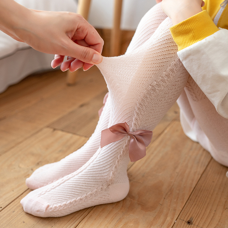 Fashion Bowknot Tights For Girls Thin Mesh Summer Pantyhose Children Cute Pink Soft Cotton Newborn Baby Stockings Fit 0-6 Yrs