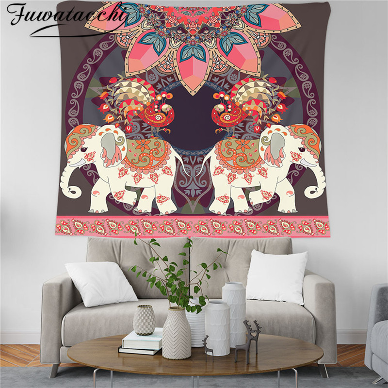 Fuwatacchi Macrame Wall Carpet Elephant Art Psychedelic Picture Tapestry Mandala Tower Witchcraft Cloth Wall Hanging Tapestries
