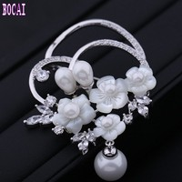 2019 new products fashion retro natural shells flower brooch inlaid zircon pearl brooch woman's brooch