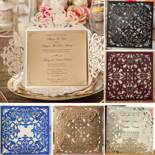50pcs Wishmade Ivory Laser Cut Lace Flower Elegant Wedding Invitations Cardboard for Party Supplies Birthday Casamento Cards(China)