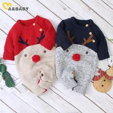 Ma&Baby 0-18M Christmas Baby Clothes Newborn Infant Boy Girl Deer Romper Knitted Warm Jumpsuit Xmas Baby Costumes Clothes