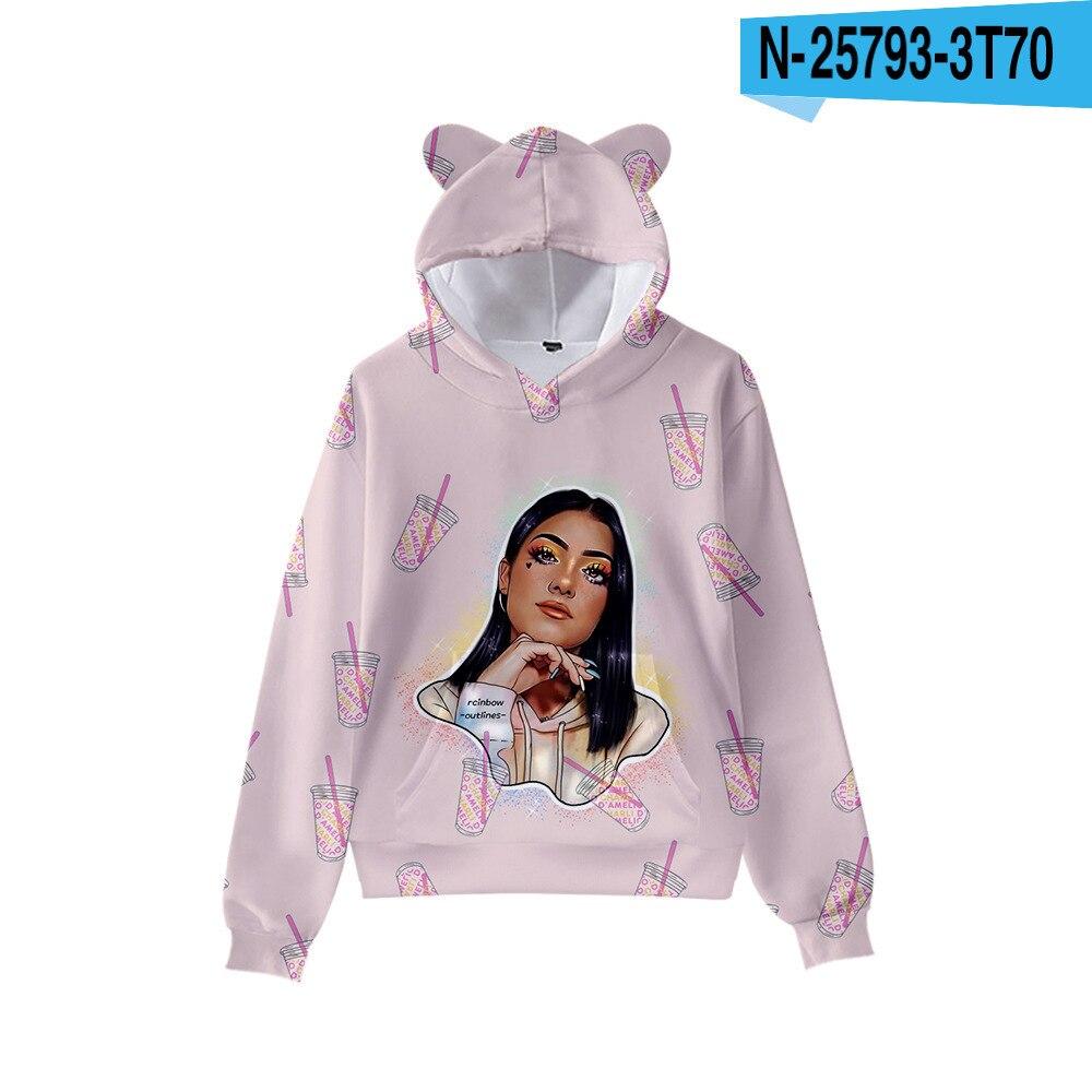 3D Print Charli D'Amelio Hoodies Boys/Girls Cat ears Hip hop Kpop Sweatshirts Hooded Autumn Winter Charli Damelio Merch Tops 8