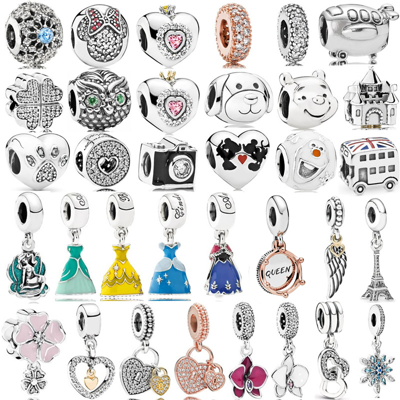Silver 925 New Dress Mickey Unicorn Charms Beads Pendant Fit Pandora Bracelets & Necklace For Women DIY Lovers Jeweley(China)