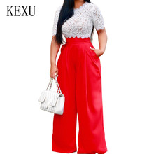 KEXU Summer Red Blue Yellow Two Pieces Sets Wide Leg Pants Women Eleagnt O-Neck Hollow Out Pockets Loose Rompers Jumpsuits