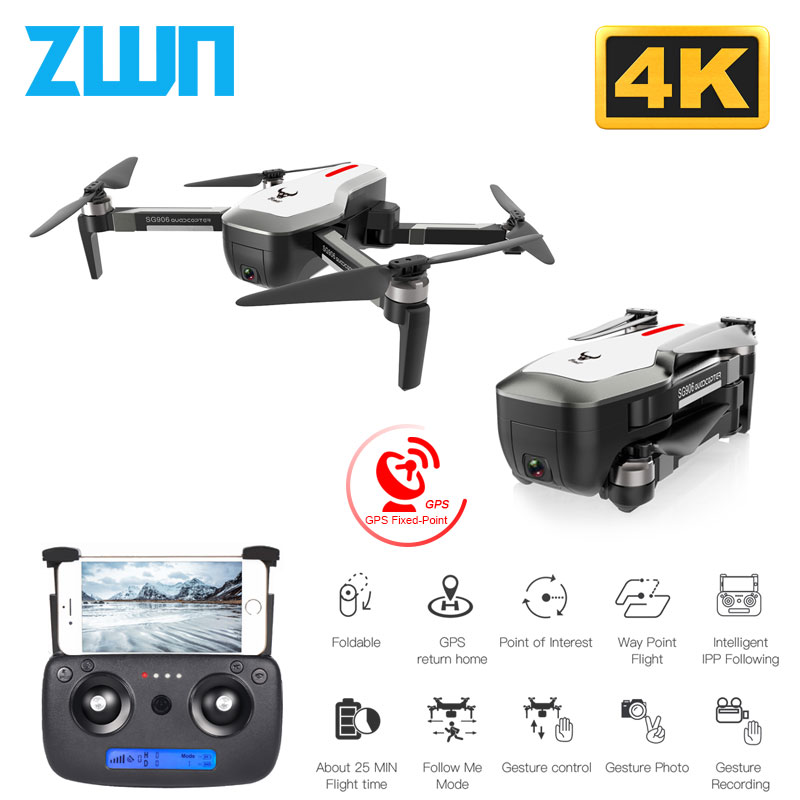 SG906 GPS Drone With Wifi FPV 4K HD Camera Brushless Quadcopter 23 minutes Flight Time Gesture Control Foldable Dron Vs F11