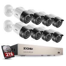 ZOSI CCTV 시스템 8 채널 1080p DVR 2.0MP IR 비바람에 견디는 야외 비디오 감시 홈 보안 카메라 시스템 8CH DVR 키트