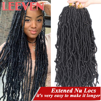 Leeven 18 24 36 bogini Faux Locs kręcone włosy syntetyczne Extened Nu Locs szydełkowe warkocze włosy szydełkowe włosy afrykańskie korzenie włosy
