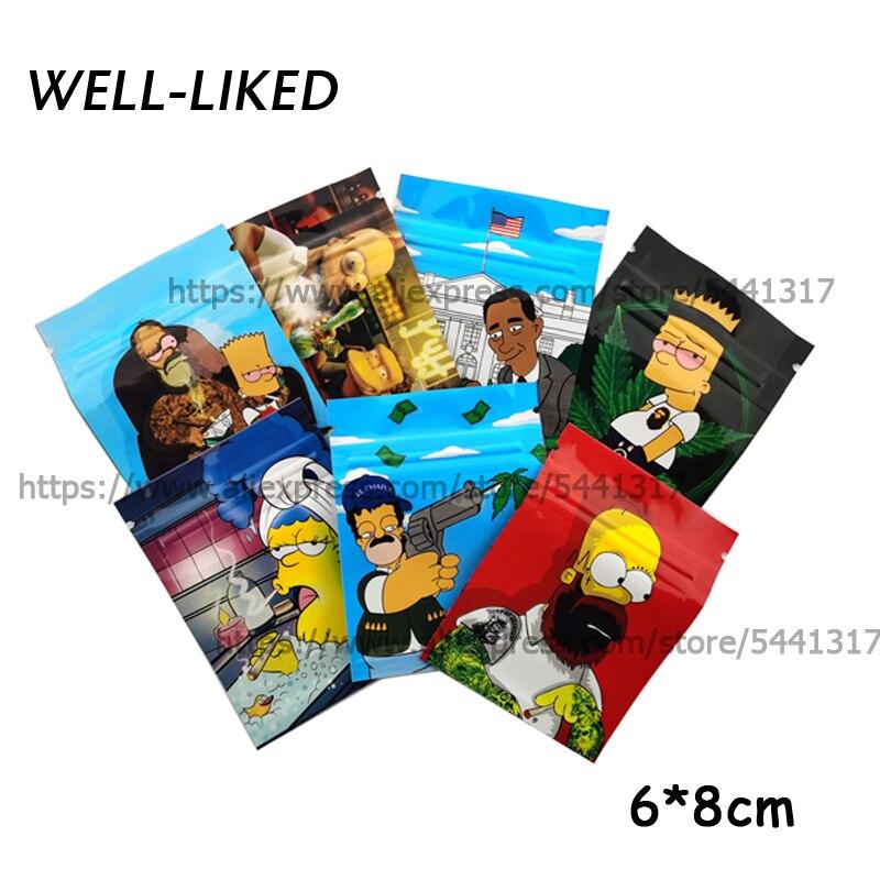 Одежда высшего качества с героями мультфильмов мешки табака 6x8 см мешки замка застежка молнии Алюминий Mylar мешки из фольги для еды сорняков посылка 3,5G мешочки для сладостей|Сумки для вещей|   | АлиЭкспресс
