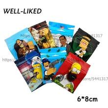 De calidad superior de dibujos animados tabaco bolsas de 6x8 CM bolsas con cierre Zip de aluminio Mylar bolsas de aluminio para comida hierba paquete 3,5G bolsas de dulces
