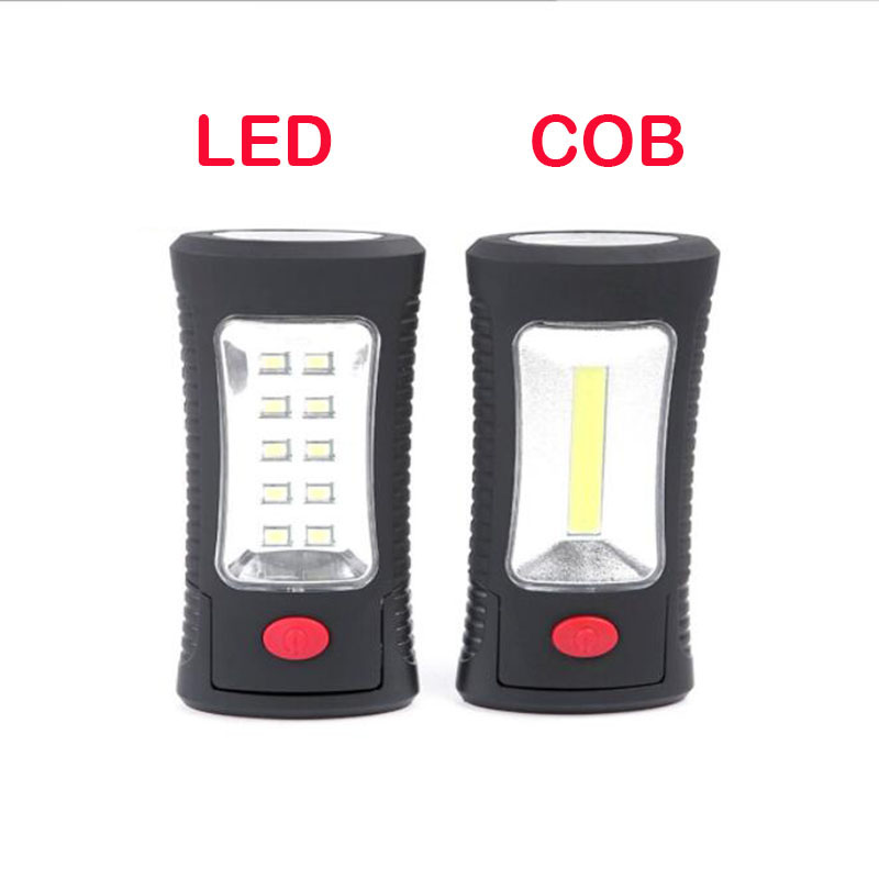 2 In 1 COB LED Flashlight Protable Hand Magnetic Work Camping Hook Stand Flash Light Torch Lamp AAA Battery Night Lighting