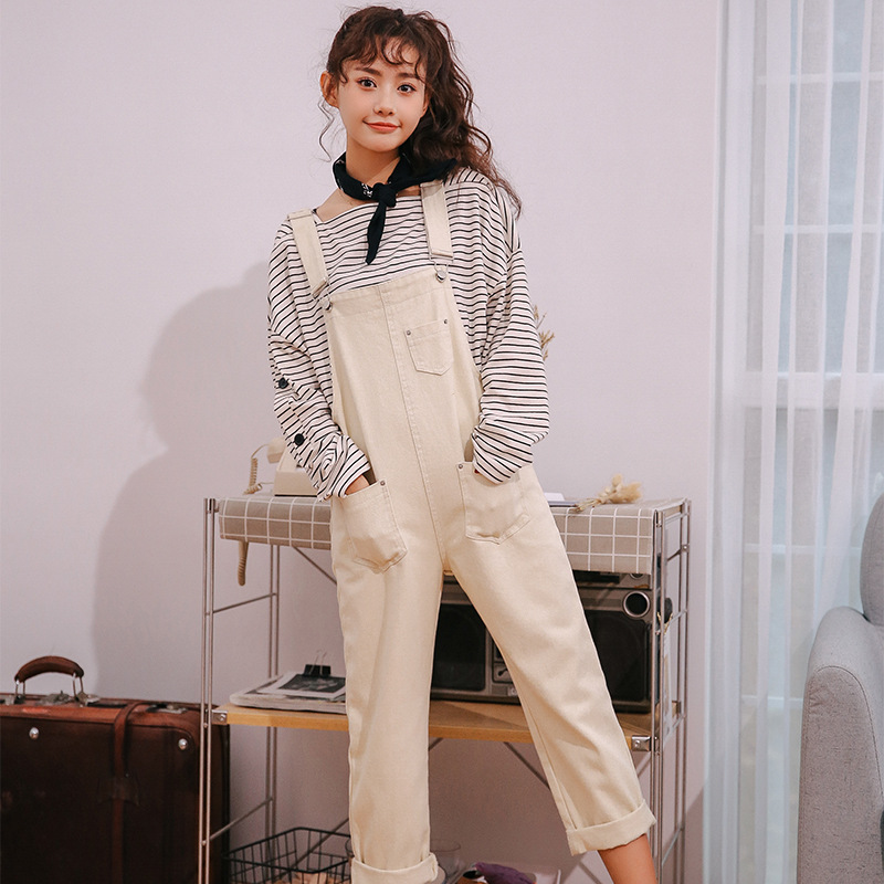 2019 Spring And Autumn New Style Loose-Fit Solid Color Simple Cowboy Suspender Pants Korean-style Students One-piece Capri Pants