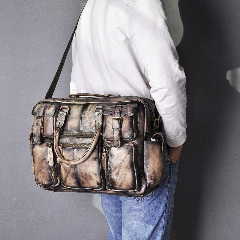 """H74ffa88d81fc405fbc9bd69fb14c98bcq Men Real Leather Antique Large Capacity Travel Briefcase Business 15.6"""" Laptop Case Attache Messenger Bag Portfolio 3061-b"""