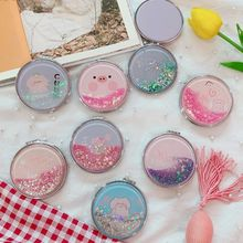 Women Girls Portable Mini Makeup Pocket Mirror Glitter Sequins Quicksand Cute Cartoon Pig Double Sided Folding Tool Gift