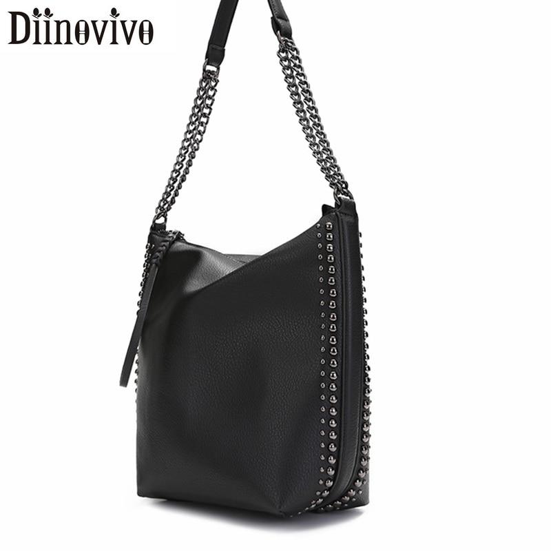 DIINOVIVO Brand Design Women Shoulder Bag Rivet Chain Bucket Women Leather Handbags Women Tote Hand Bags Messenger Bag WHDV1248