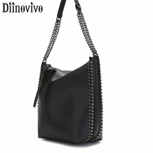 DIINOVIVO Brand Design Women Shoulder Bag Rivet Chain Bucket Leather Handbags Tote Hand Bags Messenger WHDV1248
