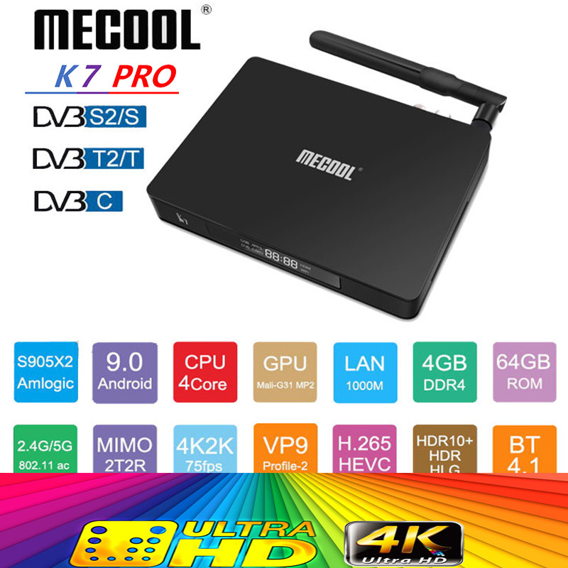 Mecool K7 <font><b>Dvb</b></font>-s2 <font><b>Dvb</b></font>-t2 <font><b>Dvb</b></font>-<font><b>c2</b></font> Tv Box <font><b>Dvb</b></font> T2 Android 9.0 Ram 4gb 64gb Rom Amlogic S905x2 2.4g/5g Wifi Usb 3.0 Bt4.1 Set-top Box image