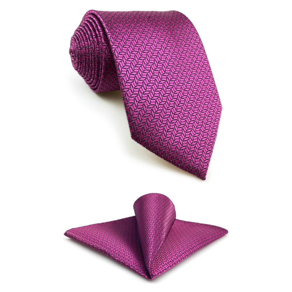 F11 Pink Geometric Neckties For Men Hanky Set Wedding Fashion Xlong Gift Silk