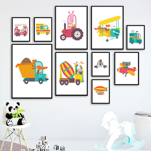 Nursery Animal Driver Car Cow Bear Fox Wall Art Canvas Painting Nordic Posters And Prints Wall Pictures Baby Boy Kids Room Decor