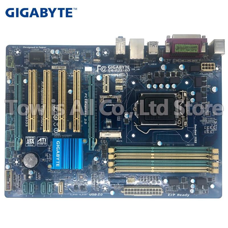Gigabyt GA-P75-D3 Original Motherboard LGA 1155 DDR3 USB2.0 USB3.0 SATA3 P75-D3 32GB B75 Desktop Motherboard
