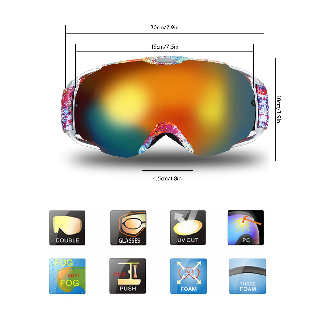 Adult Ski Goggles Winter Snow Sports Snowboard Goggles Ventilated Anti-fog Spherical Dual Lens For Snowmobile Skiing Skating