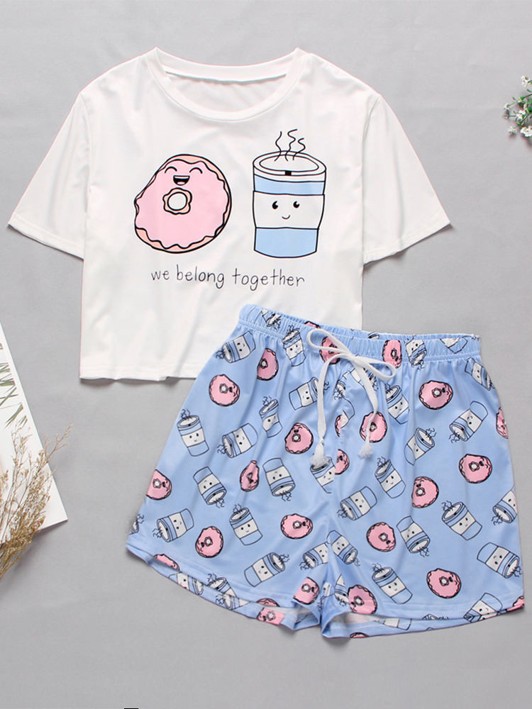 Sleepwear Cute Pajamas Short-Set T-Shirts Print Cartoon Women's Summer for Sweet