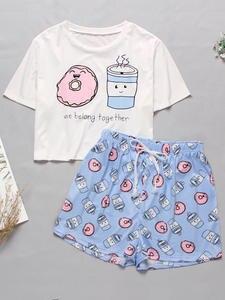 Women's Sleepwear Pajama-Set Short-Set T-Shirts Cartoon Print Cute Sweet Summer