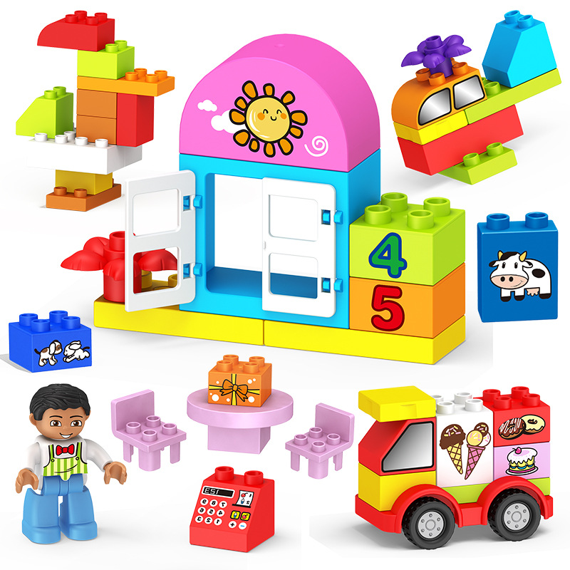 2020 Kids Juguetes DIY Big Building Bricks City Zoo Car Figure Creative Compatible Hollow Duplo Blocks Set For Children Gifts