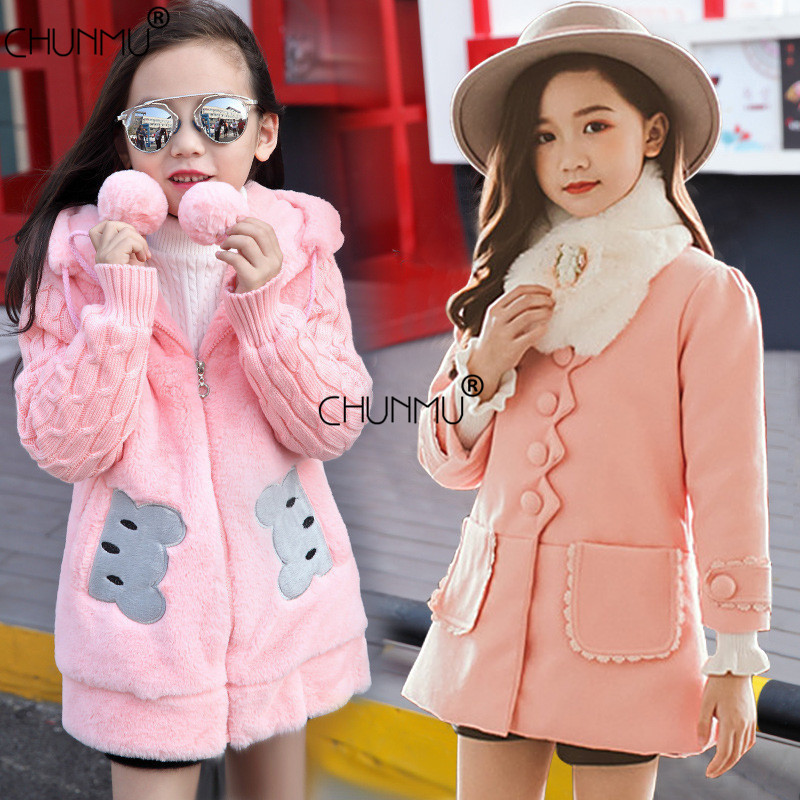 Jacket Coat Outerwear Girls Clothes Faux-Fur Kids Hooded Warm Fashion Long for 3-12-Years-Old
