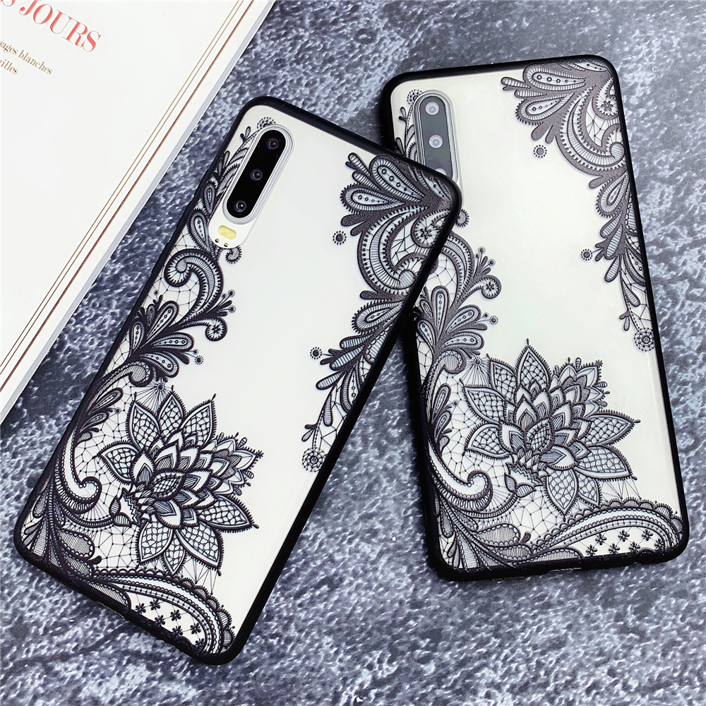 Retro Floral Flower Lace Case For Huawei P20 Lite P30 Pro <font><b>Mate</b></font> <font><b>20</b></font> Lite Honor 10 Lite 8X Hard PC+Soft TPU Phone Back Cover Cases image