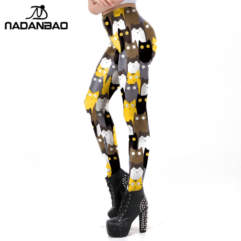 NADANBAO Cartoon Cat 3D Print Leggings Women Fashion Animal Skinny Pants Mid Waist Fitness Leggins Casual Workout Leggings
