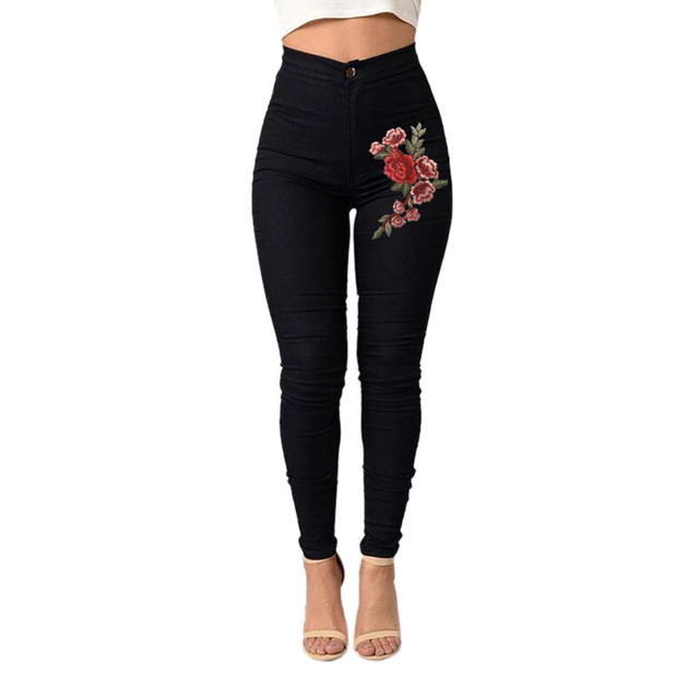 Women's High Waist Embroidered  Stretch Jeans