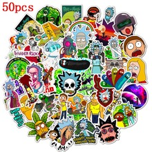 50Pcs/Waterproof PVC Cartoon Rick and Morty Stickers Skateboard Suitcase Luggage Guitar Graffiti Stickers Kid Classic Toy