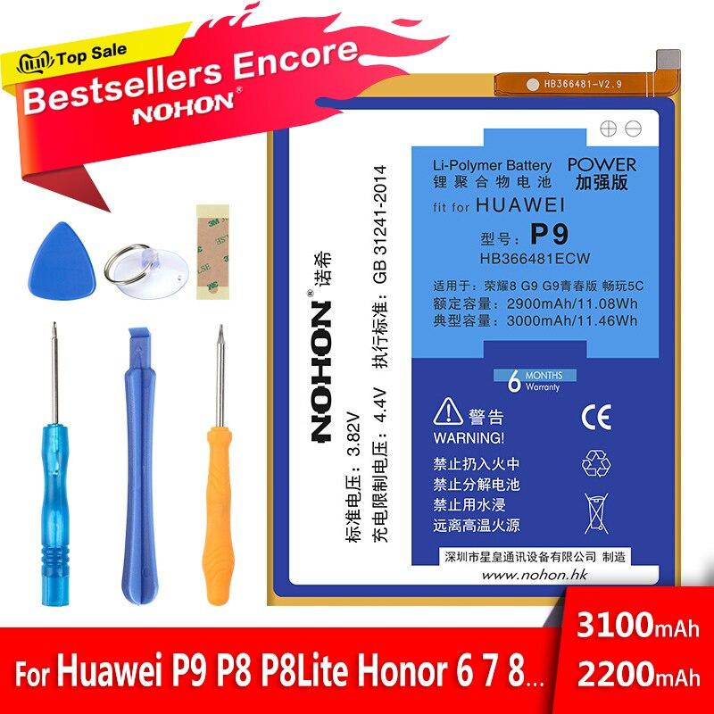 Batterie NOHON pour Huawei P9 G9 Lite Honor 6 7 8 5C 4X 7i P8/P8 Lite profitez de 5S HB366481ECW batterie de remplacement au Lithium polymère