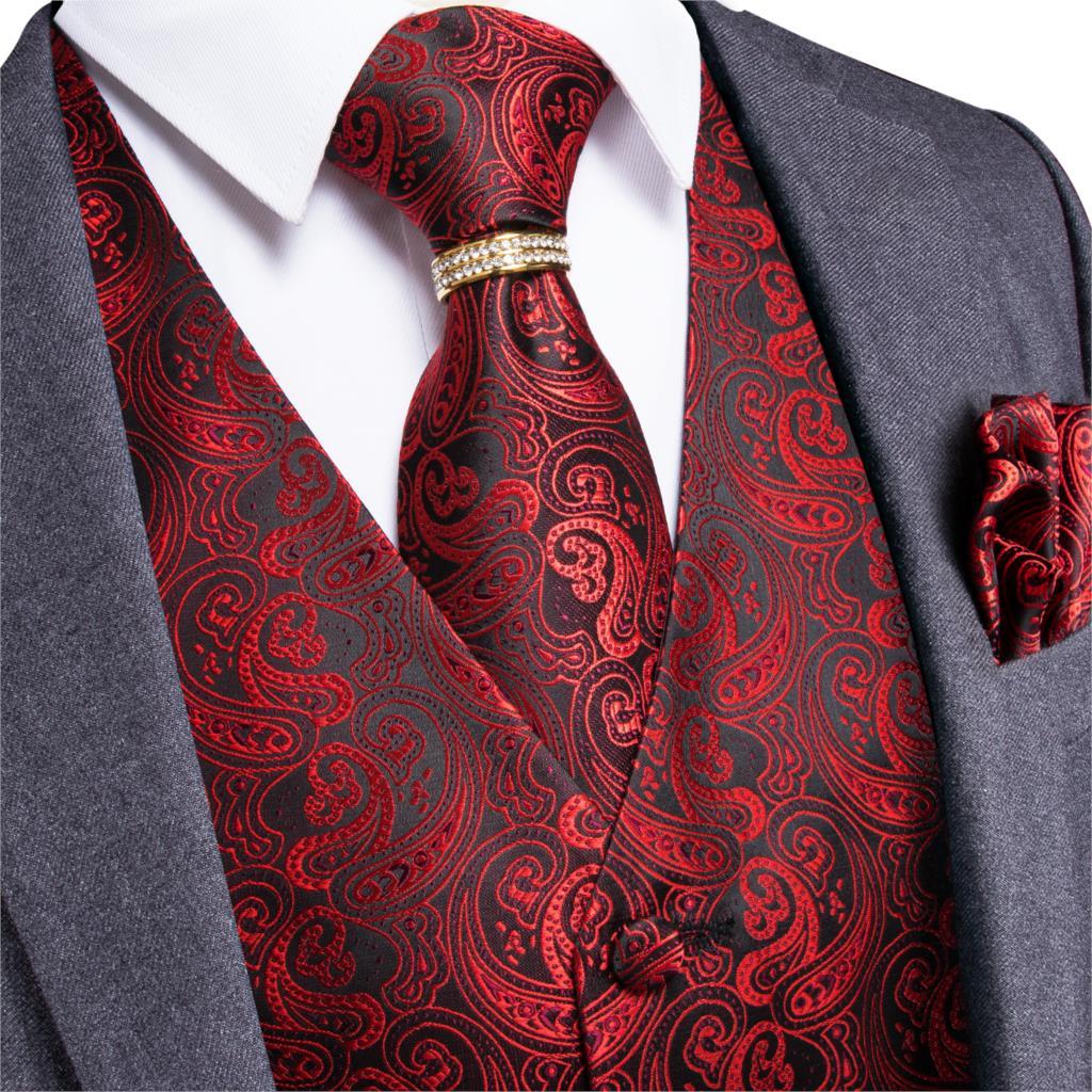 Men's Classic Party Wedding Silk Vest Paisley Jacquard Waistcoat Vest Red Pocket Square Tie Ring Cufflinks Suit Set DiBanGu
