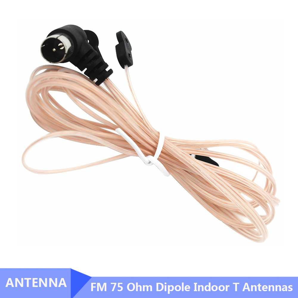 New FM Radio Antenna 75 Ohm Dipole Indoor T Antennas HD Aerial Receiver Male Type F Connector For FM Radio Indoor Use
