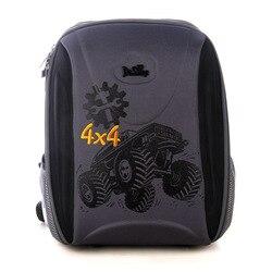Delune брендовые 3D ортопедические школьные сумки для девочек 1-5 класса, Детские рюкзаки для мальчиков с принтом с четырьмя колесами и автомоби...