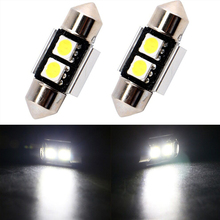 цена на 10PCs New 31mm 2 SMD 5050 White Dome Festoon CANBUS Error Free Car 2 LED Light Bulb Dome Interior Reading License Plate Light