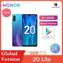 Honra 20 lite 4gb 128gb versão global frente 32mp kirin 710 octa núcleo android 9.0 face id câmera traseira do telefone móvel 24mp celular