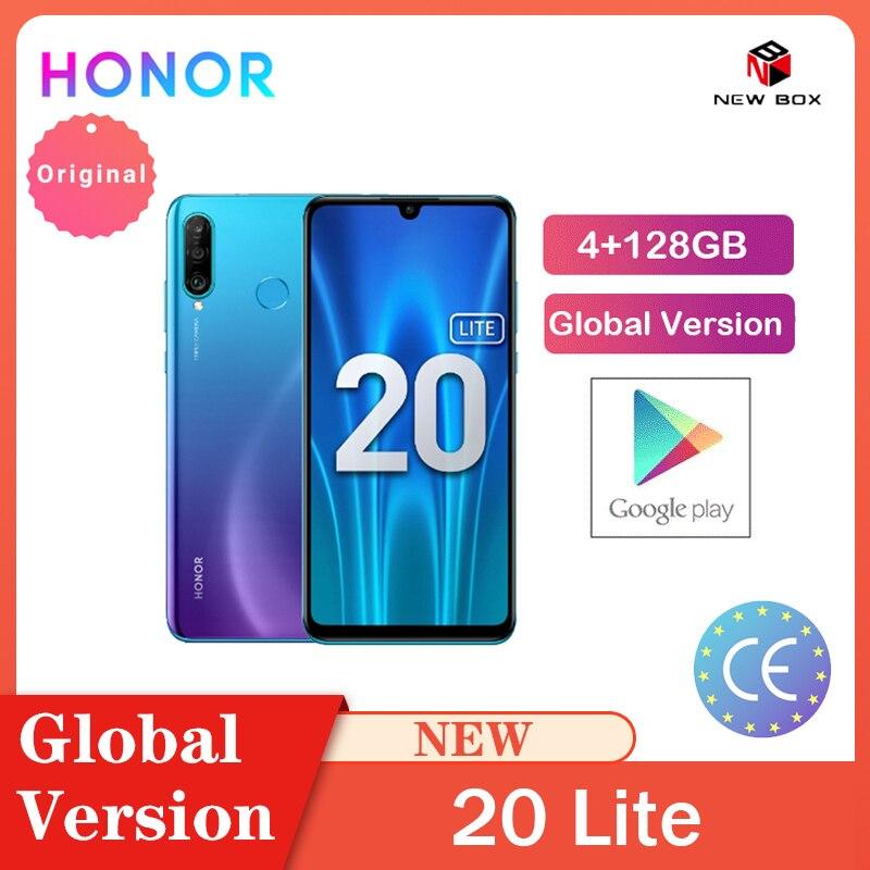 Honra 20 lite 4gb 128gb versão global frente 32mp kirin 710 octa núcleo android 9.0 face id câmera traseira do telefone móvel 24mp celular|Celulares|   -