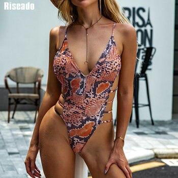 Riseado Snake Print One Piece Swimsuit Deep V-neck Swimwear Women High Cut Swimsuits Cross Bandage Swimming Suits 2021 Beachwear 2