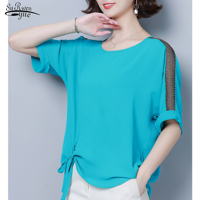 New Style Women's Tops Plus Size Short Sleeve Solid Chiffon Women Blouse Casual Loose O-neck Bow Lady Shirt Blusas Mujer 5537 50