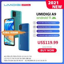 Umidigi a9 android 11 versão global 13mp ai triplo câmera 3gb 64gb helio g25 octa núcleo 6.53