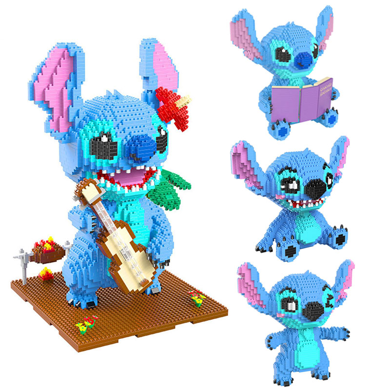Disney Lilo & Stitch Stitch building blocks Cartoon animal image Reading style Building practical skills brain game gift