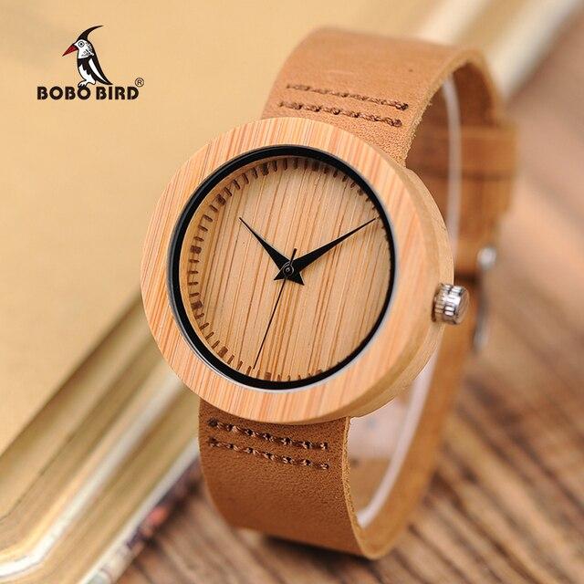 BOBO BIRD Round Bamboo Wooden Women Watch Fashion Ladies Quartz Wristwatch Wood Women Clock in Gift Box Custom Logo Dropshipping