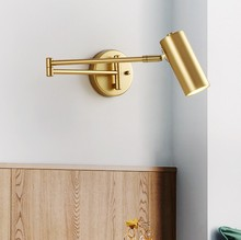 Modern Vintage Bedside Wall Lamp with Swing Long Arm Adjustable Joint LED Black Gold Wall Light Office Study Reading Lamps bedroom light study wall lamp iron long arm rocker wall lamp bedside light industrial style adjustable wall light bathroom