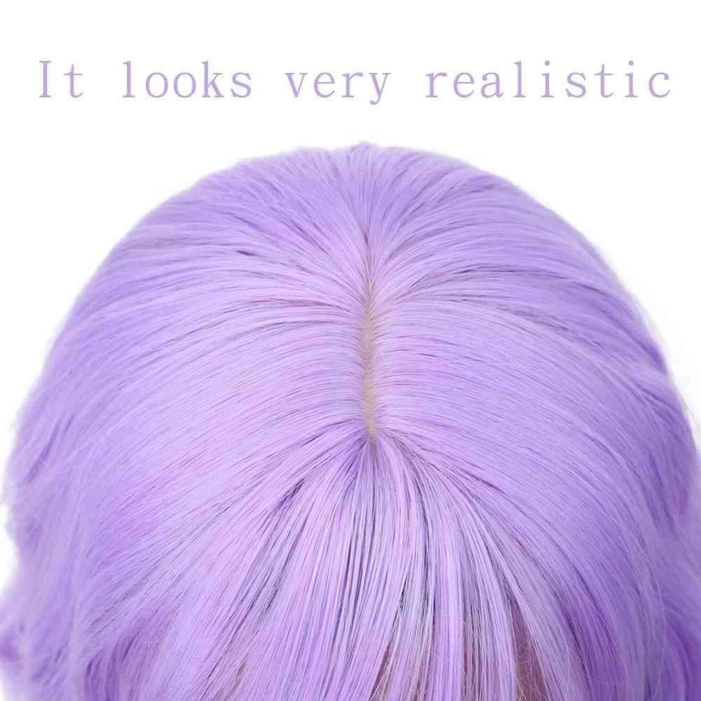 Lavendel Lila Rosa Perücke mit Luft Bang Bunte Kurze Wellenförmige Perücken für Frauen Synthetische Pastell Purpur Perücke 14 zoll Grenze rabatte