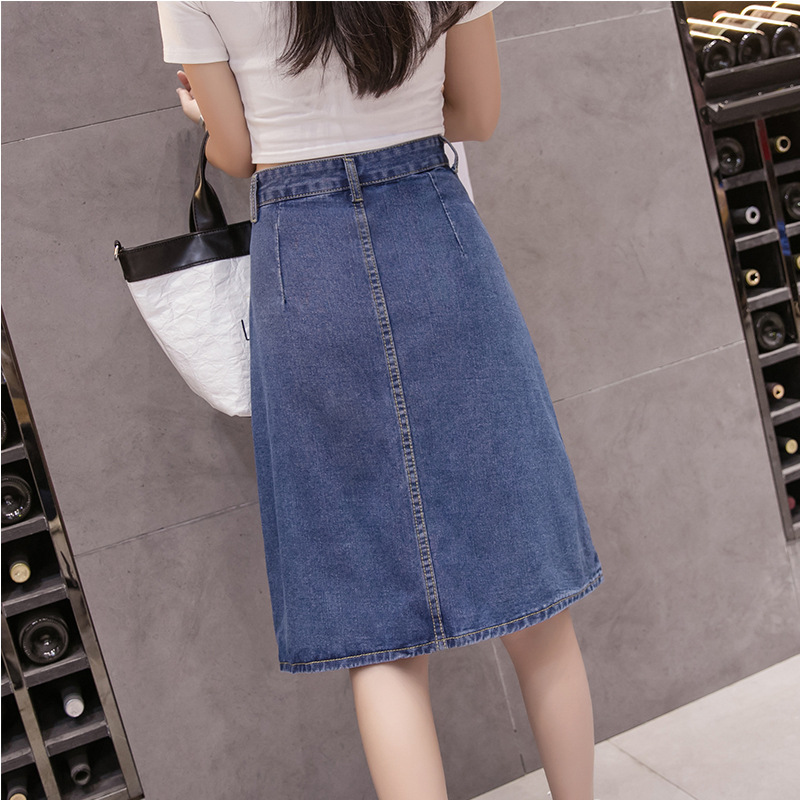 Denim Skirt 2018 Large Size Dress 200 Of Fat Mm Mid-length Skirt