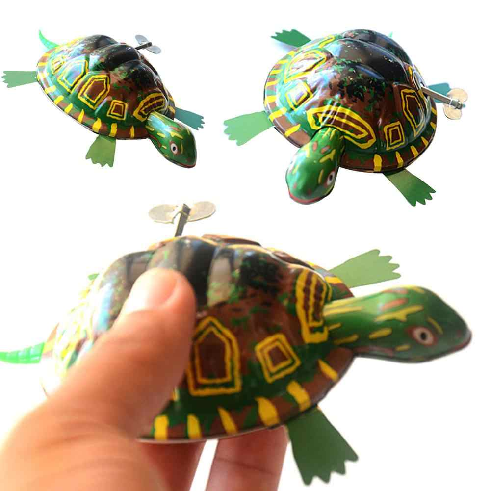 Classic Green Iron Moving Tortoise Wind up Clockwork Toys Kids Hobby Education Collectible Gift Random Color